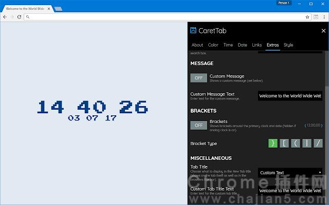 CaretTab可以显示时间和日期的标签页