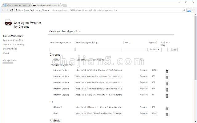 User-Agent Switcher for Chrome测试网页自适应情况的前端开发