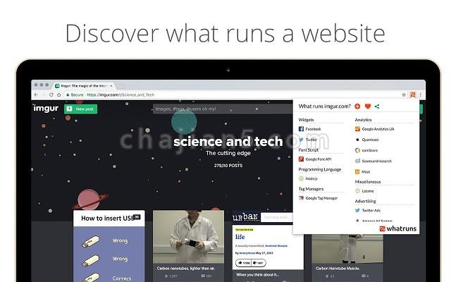 用WhatRuns查看网站使用的技术框架和第三方服务