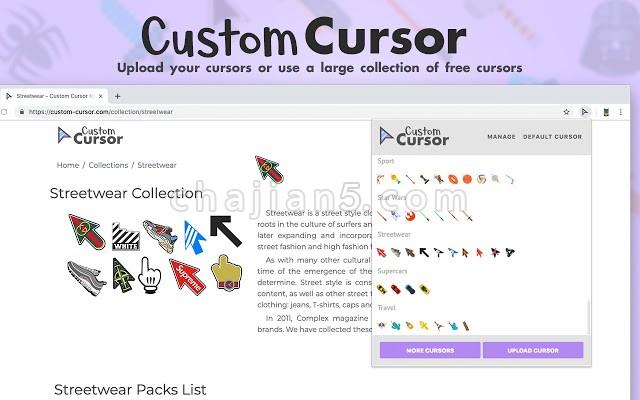 Custom Cursor for Chrome™ 自定义Chrome浏览器鼠标光标图形的插件