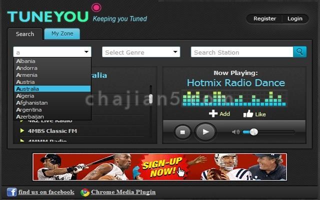 """TuneYou Radio""""无线电""""广播收音机插件-倾听来自中国和来自世界各地超过50,000个电台"""