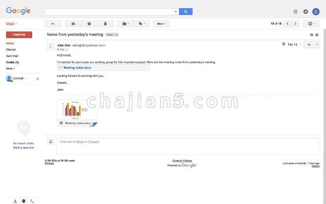 Dropbox for Gmail直接在 Gmail 窗口中发送和预览 Dropbox 文件
