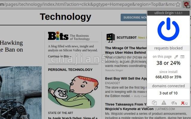 uBlock Origin浏览器广告拦截过滤插件
