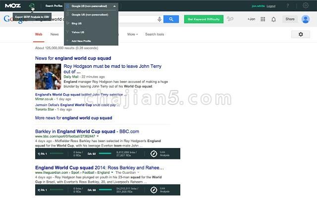 MozBar Chrome一体化SEO工具栏