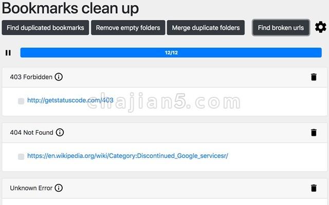 Bookmarks clean up 浏览器收藏夹死链重复链接检测插件