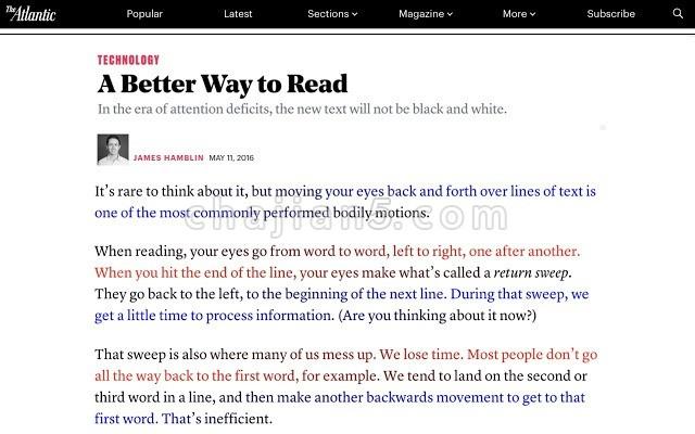 BeeLine Reader 利用颜色感知提升网页阅读效率