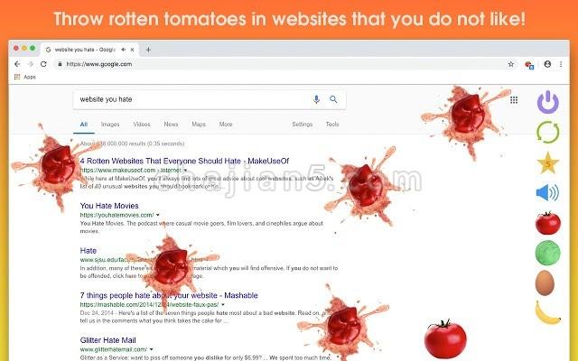 Rotten Tomato Destroyer 在你不喜欢的网站上扔烂番茄