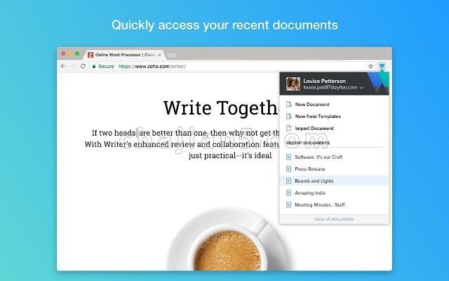 Writer - Extension & Clipper从任何选项卡创建,访问和编辑Writer文档