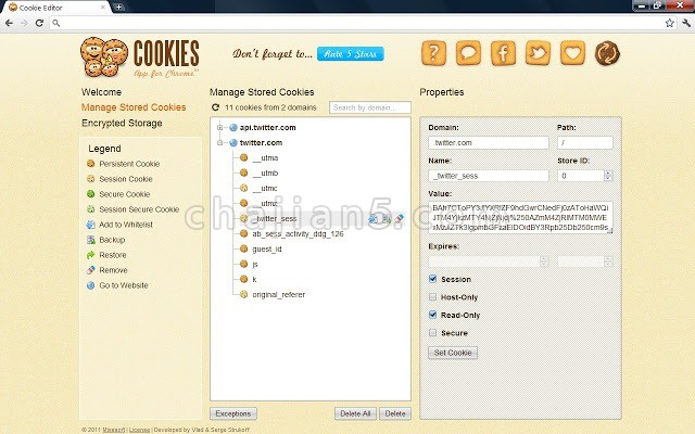 Cookie Editor 可视化Cookie编辑器