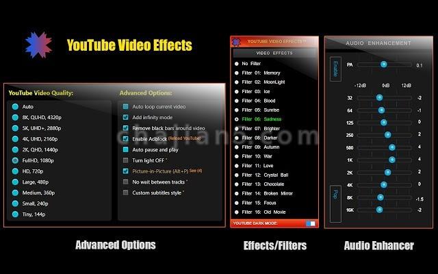 YouTube Video Effects改善视频效果,彩色滤镜,音频增强