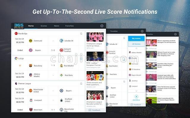 365Scores 球队和联赛的实况比分、热门资讯和进球集锦