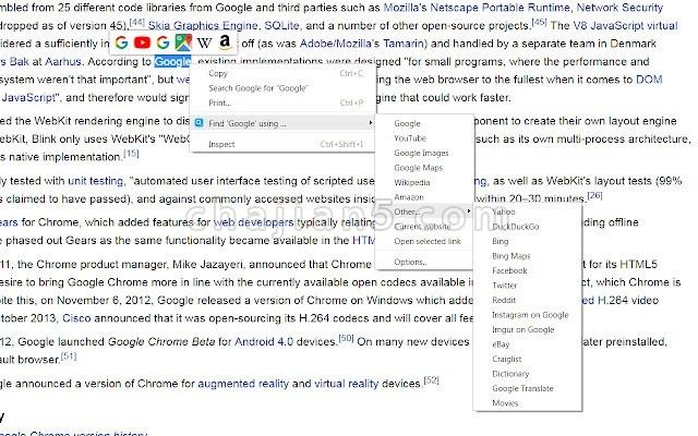 Selection Context Search 网页上选中文字后搜索