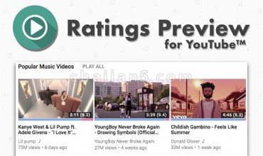 Ratings Preview for YouTube™油管YouTube™视频好坏即时预览